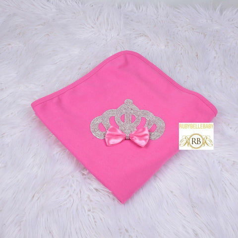 Newborn Infant Bow Princess Crown Receiving Blanket - Hot Pink/Silver