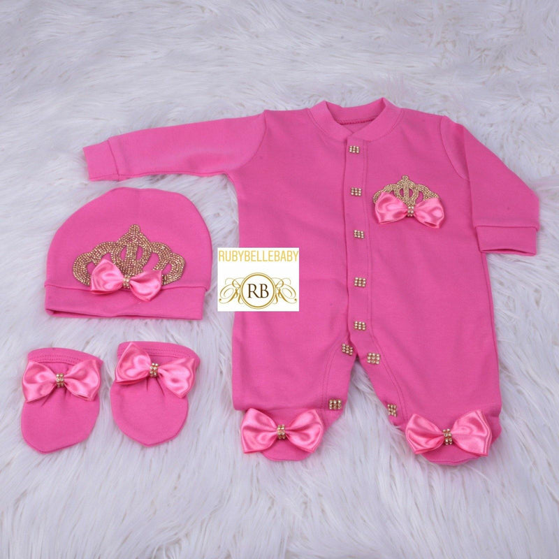 3pcs Princess Crown Set - Hot Pink/Gold - RUBYBELLEBABY