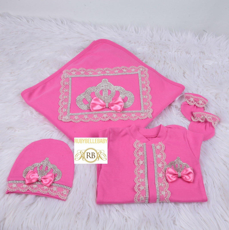 4pcs Princess Crown Blanket Set - Pink/Silver - RUBYBELLEBABY