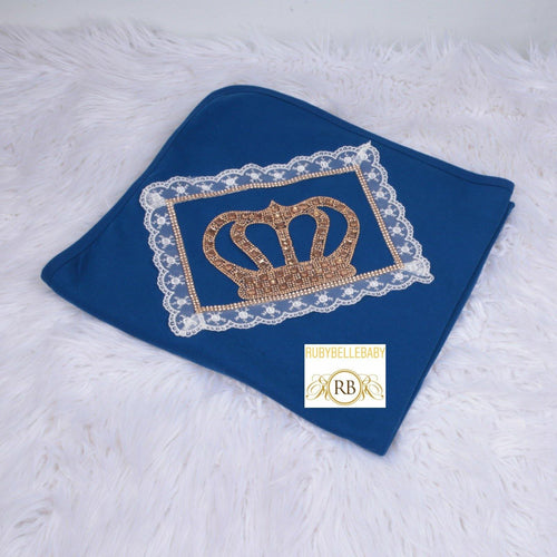 HRH Crown Receiving Blanket - Navy Blue/Gold - RUBYBELLEBABY