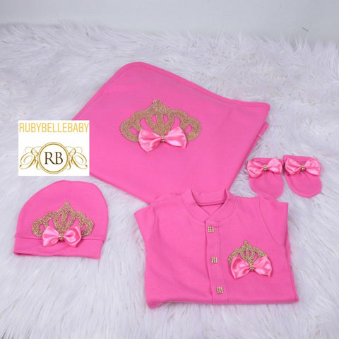 4pcs Bow Princess Crown Blanket Set - Hot Pink/Gold