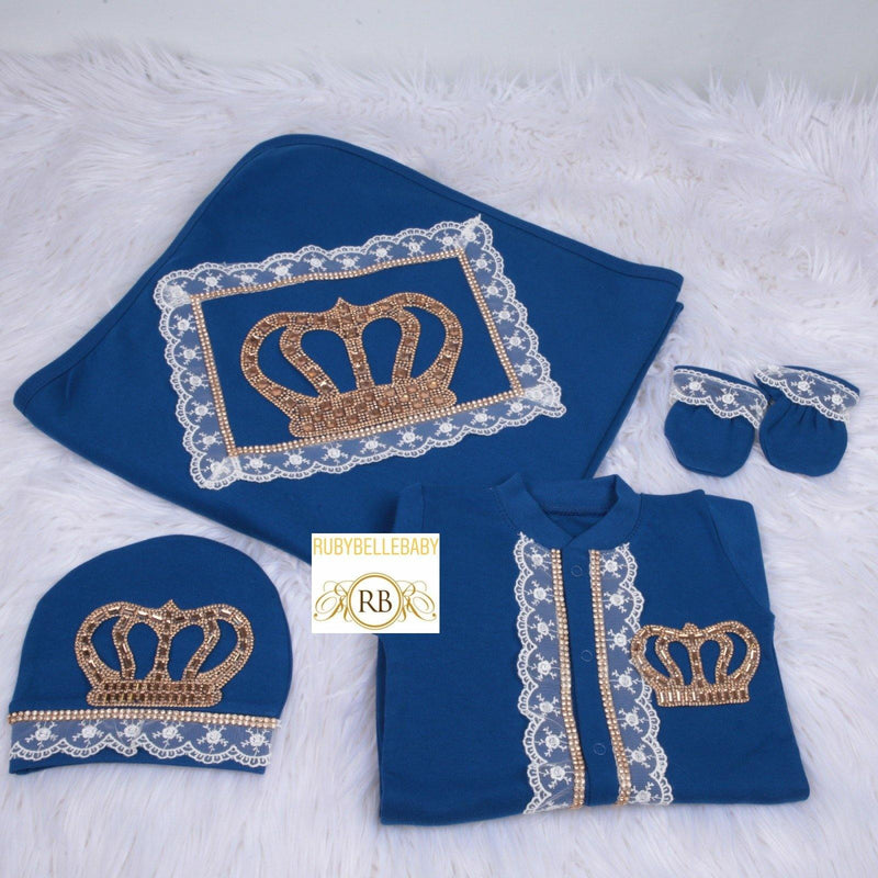 4pcs HRH Crown Blanket Set - Navy Blue/Gold - RUBYBELLEBABY