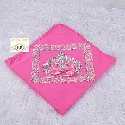 Newborn Infant Bow Lace Princess Crown Receiving Blanket - Hot Pink/Silver
