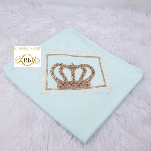 HRH Receiving Blanket - Mint Green - RUBYBELLEBABY
