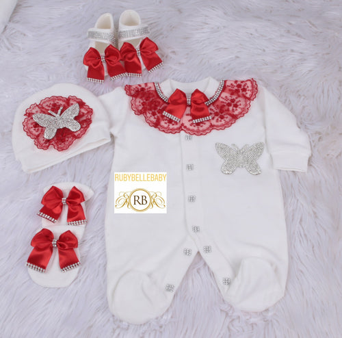 4pcs Butterfly Velvet Set - Red/Silver