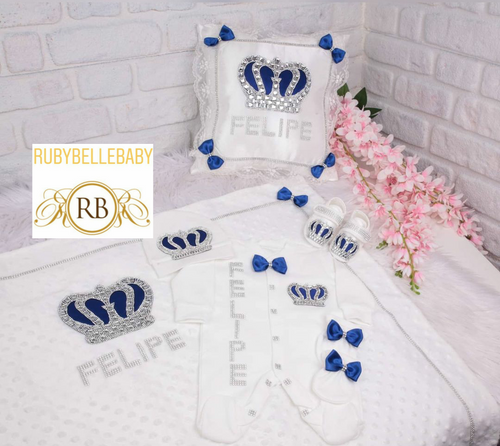 6pcs HRH Crown Set - Blue and Silver/Gold