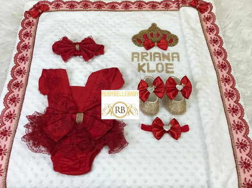 5pcs Ava Blanket Set - Red - RUBYBELLEBABY