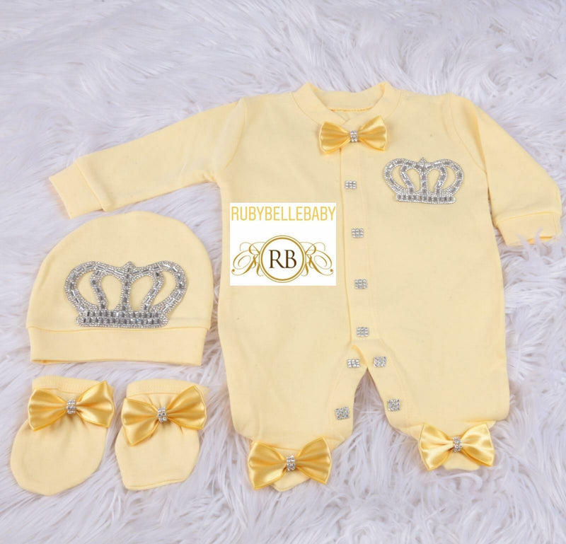 3pcs HRH Crown Set - Yellow/Silver - RUBYBELLEBABY
