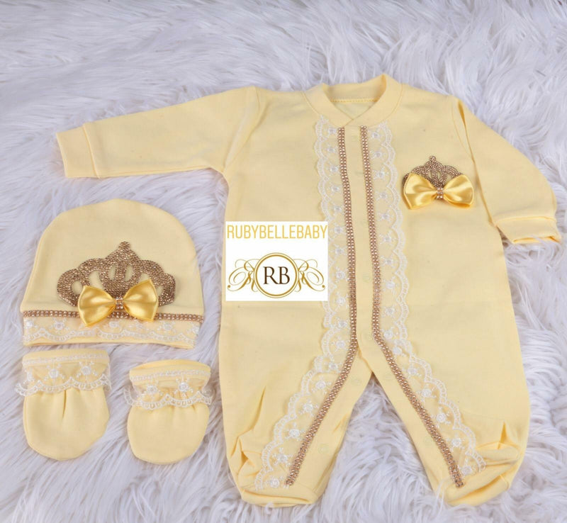 3pcs Princess Crown Set - Yellow/Gold - RUBYBELLEBABY