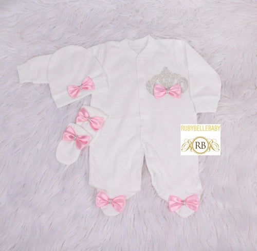 3pc Princess Crown Set - Pink - RUBYBELLEBABY