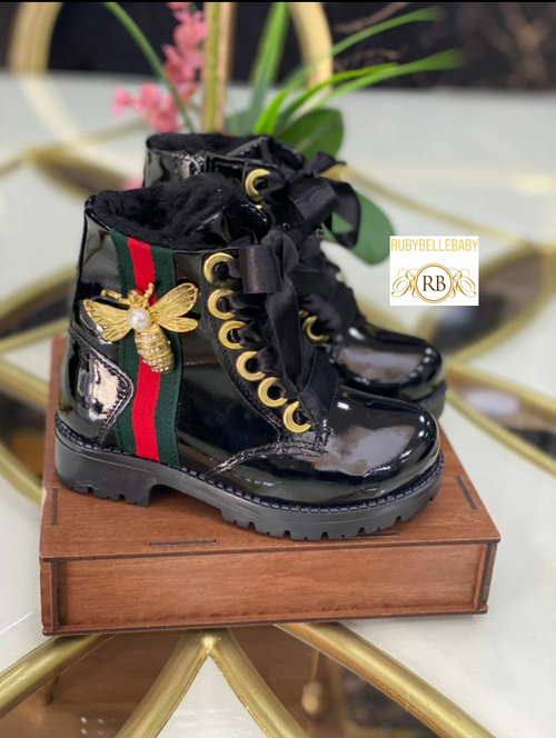 Bumble Bee Boots - Black - RUBYBELLEBABY