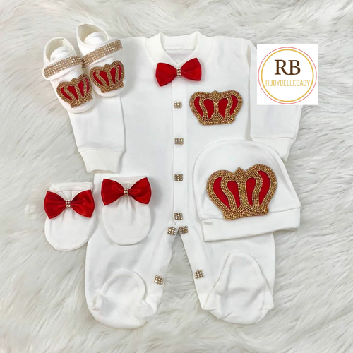 4pcs Royal Crown Set - Red - RUBYBELLEBABY