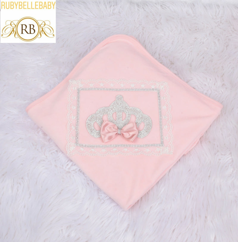 Princess Crown Velvet Blanket - Light Pink/Silver