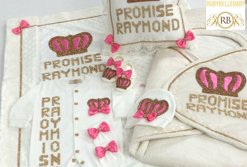 9pcs HRH Crown Set - Pink/Gold