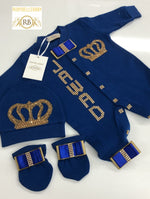 3pcs HRH Crown Set - Blue/Gold