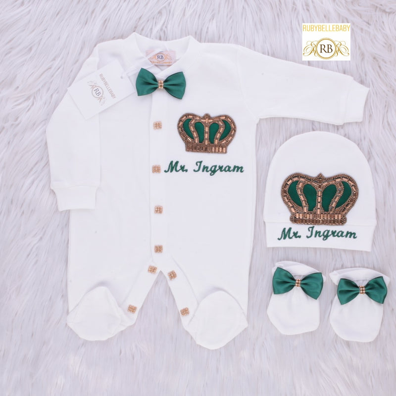3pcs HRH Crown Set - Emerald Green/Gold