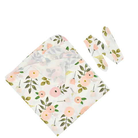Blooming Soft Pink Organic Newborn Infant Baby Soft High Quality Swaddle Set