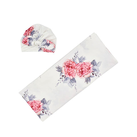 White Red Roses Floral Swaddle Design Organic Newborn Infant Baby Soft High Quality Swaddle and Hat Set