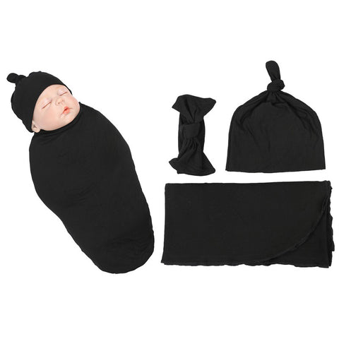 Solid Black Color Organic Infant Newborn Baby Soft High Quality Stretchy Swaddle Set