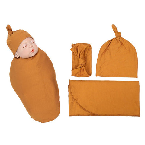 Solid Bronze Color Organic Infant Newborn Baby Soft High Quality Stretchy Swaddle Set