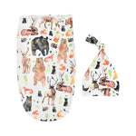 Animal Kingdom Organic Newborn Print Infant Baby Soft High Quality Coocon and Hat Set