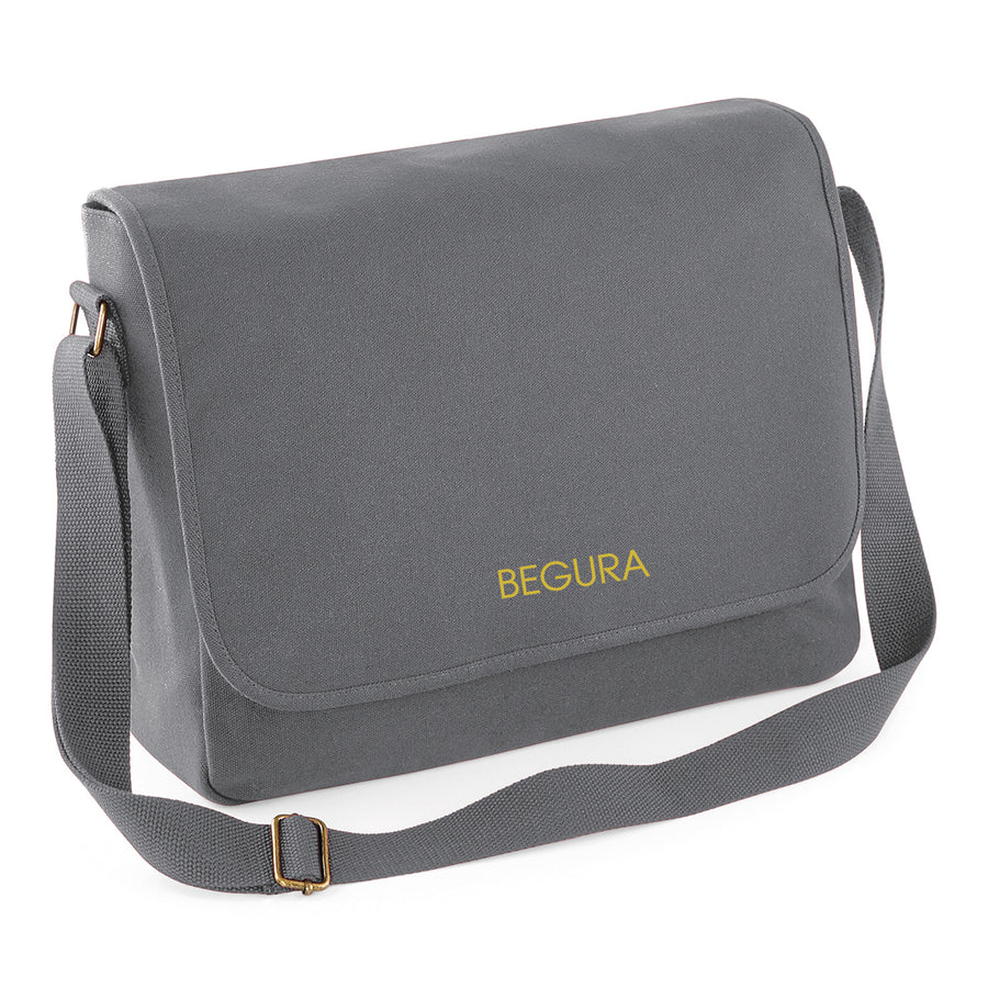 Begura Smoke Grey Cotton Canvas Messenger - BEGURA