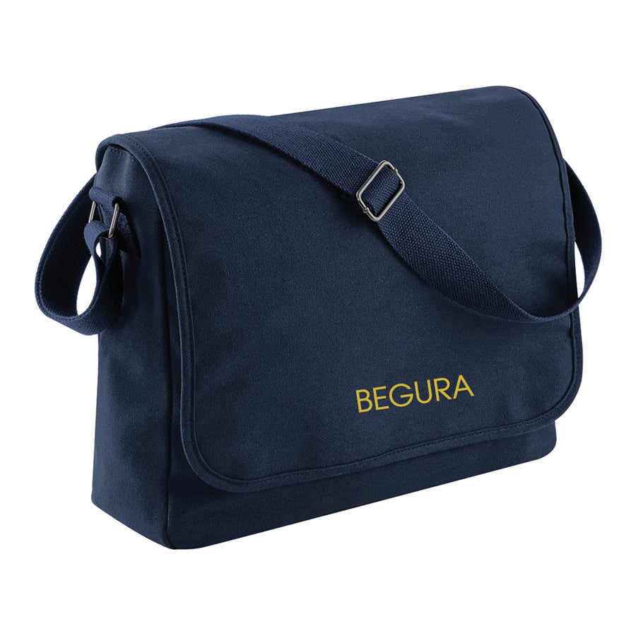 Begura Navy Cotton Canvas Messenger - BEGURA