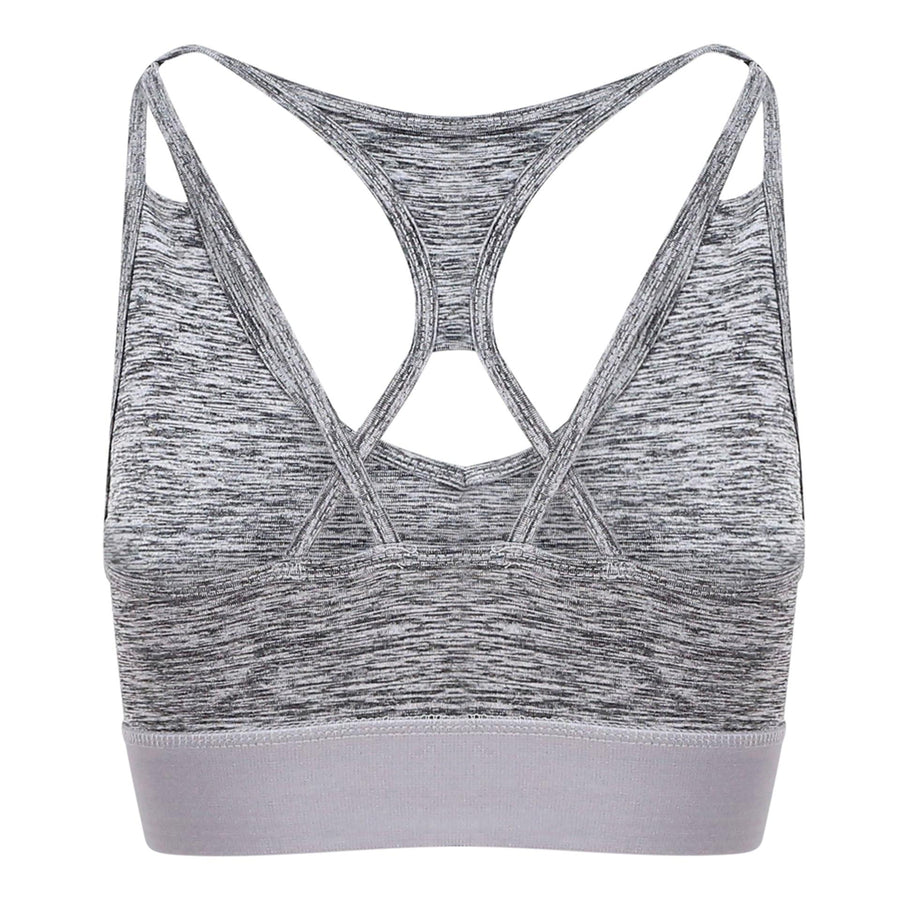 Cross Back Grey Melange Crop Top - BEGURA