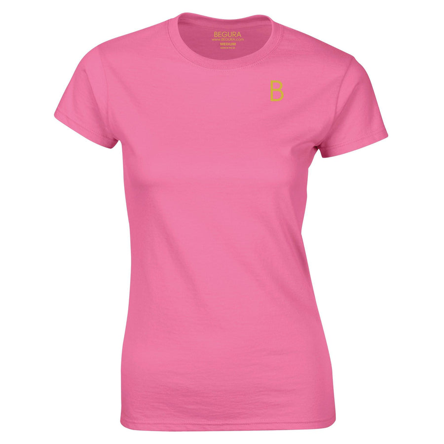 B Logo Pink Ladies Fitted T-Shirt - BEGURA