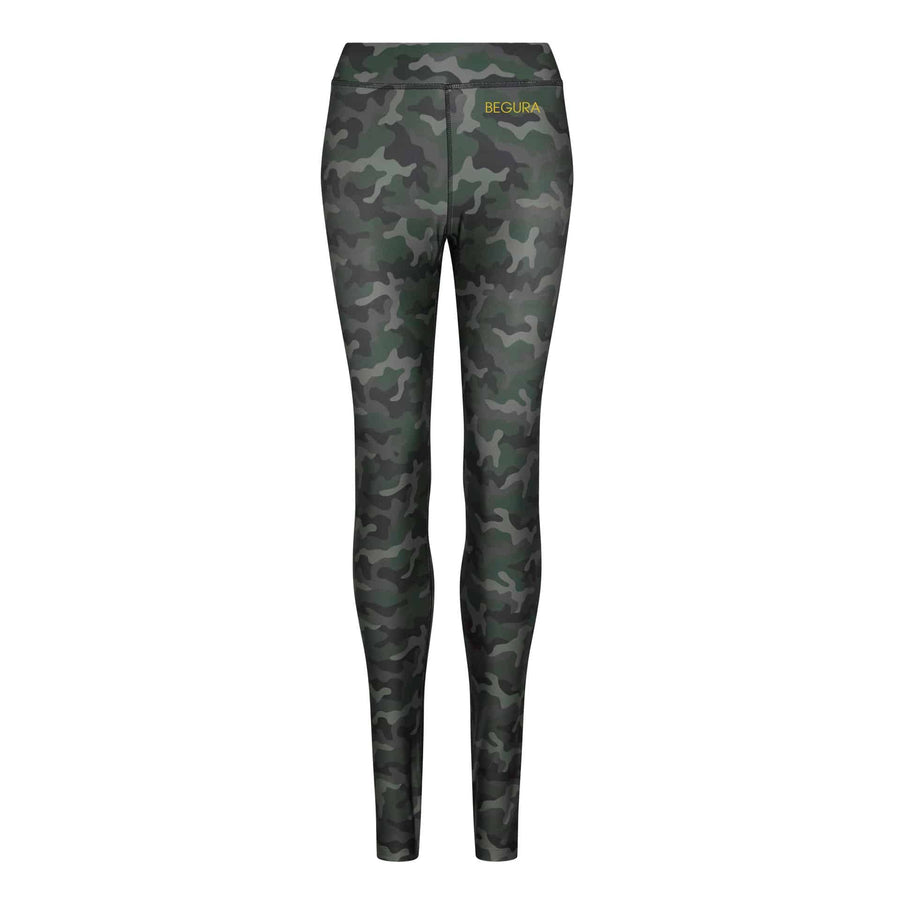 Female Pattern Green Camo Leggings - BEGURA