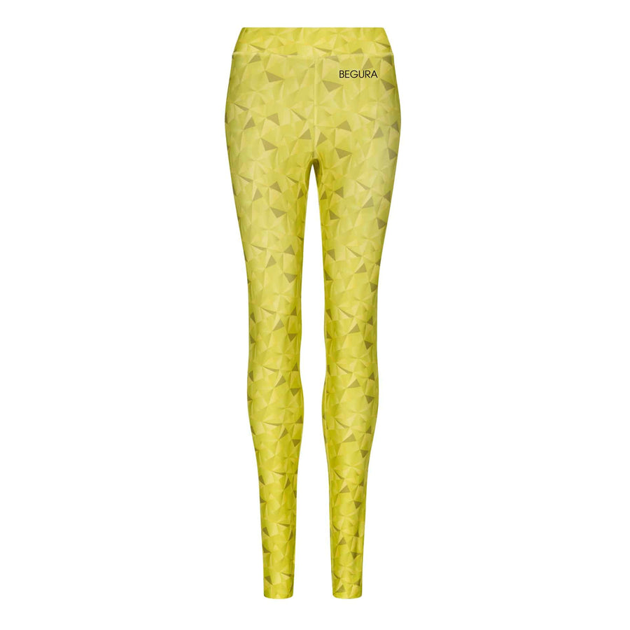 Female Pattern Golden Lime Leggings - BEGURA