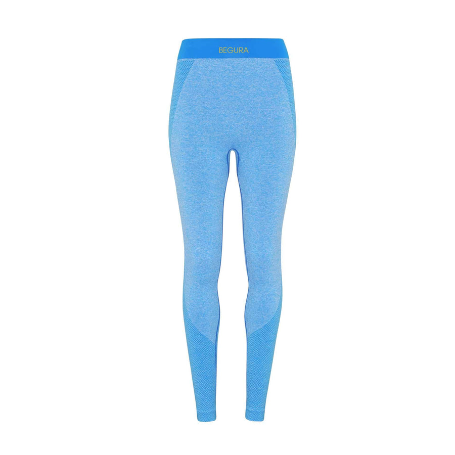 Female Seamless 3D Fit Multi Sport Blue Leggings - BEGURA