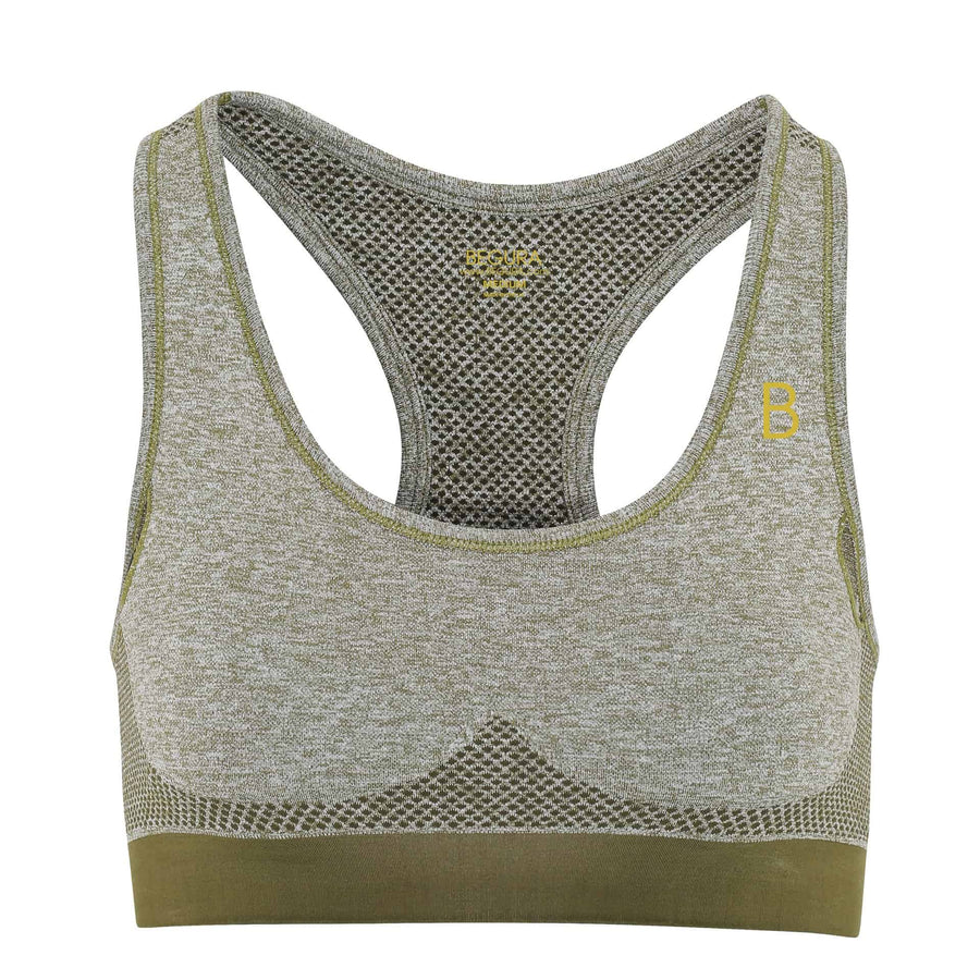 Female Seamless 3D Fit Multi Olive Sports Bra - BEGURA