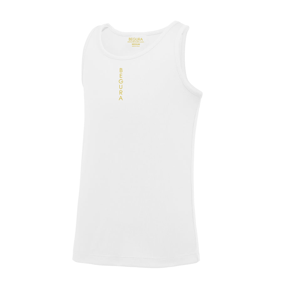Kids Performance Vertical White Vest Top - BEGURA