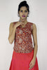 Gypsy top in red cream kalamkari.  Made from soft cotton.  Button and loop at the back