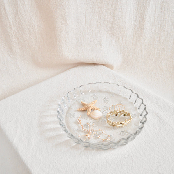 flat round floral glass tray