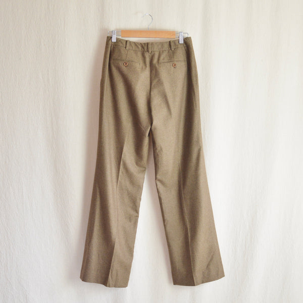 "29"" pure wool speckled light brown mid rise wide leg pants"