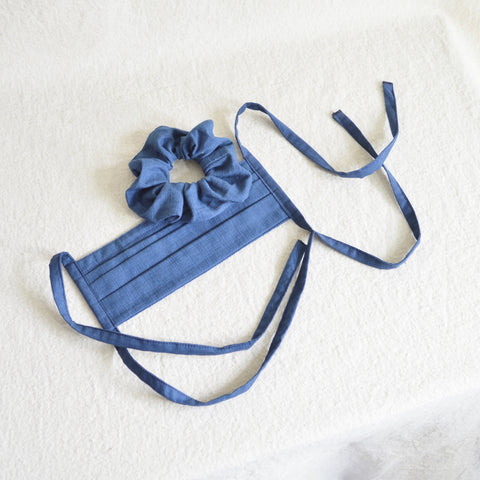 100% cotton tie back mask with scrunchie set