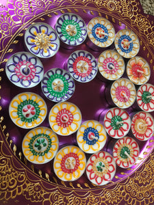 Henna Tealights, wedding favors, handcrafted tealights, Mehndi favors,