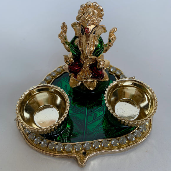 Leaf shaped haldi kumkum plate with Sri Ganesh