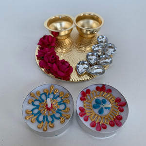 Metal Haldi Kumkum Holder on Gold Base