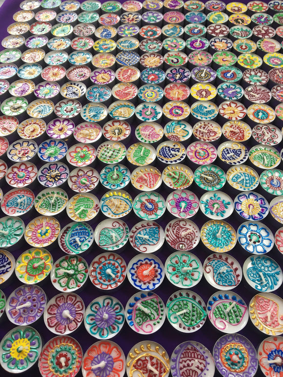 Set of 50 assorted henna tealight
