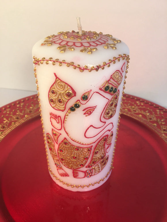 Handpainted Ganesha Candle