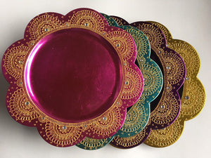 Beautiful HANDMADE Charger thaal /mehndinight decor/diwali decor/Henna Plate /Pooja Thali/Wedding CenterPiece/decorative plate/henna charger