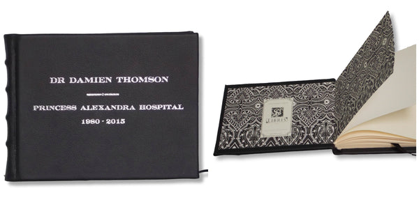 Black Leather Memorial Book with personalisation