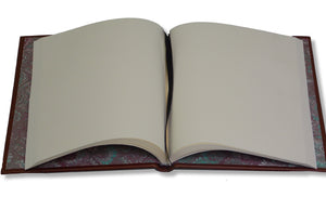 Cream blank pages of brown full leather journal
