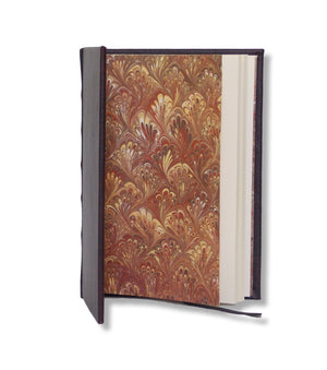 Chocolate Brown Full Leather Journal with marbled endpages