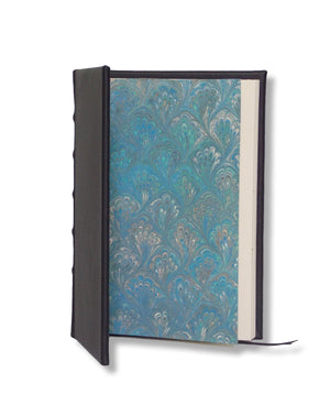 Navy Full Leather Journal with Marbled end pages