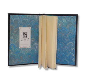Blue marbled end pages in Navy Leather Journal