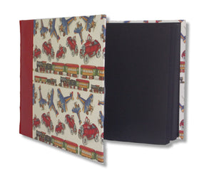 Large red leather baby album - planes and trains